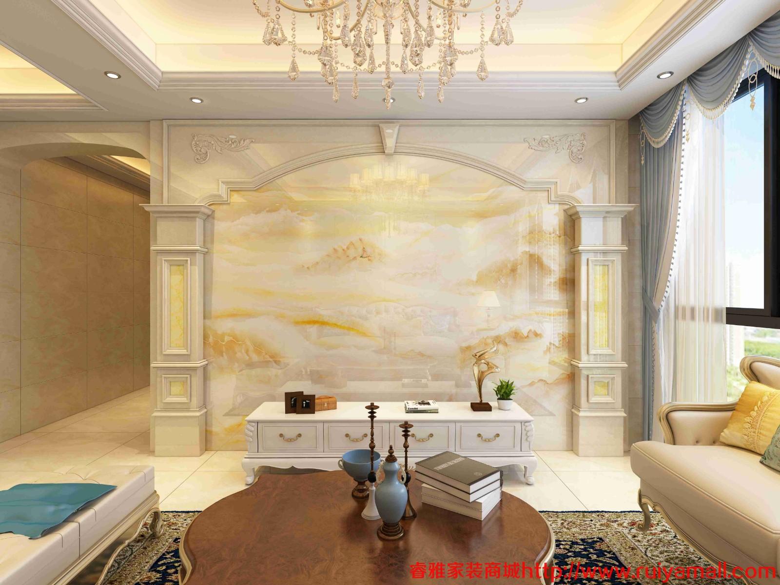 电视背景墙瓷砖现代简约客厅3D微晶石石材边框装饰造型石材护墙板-套餐6