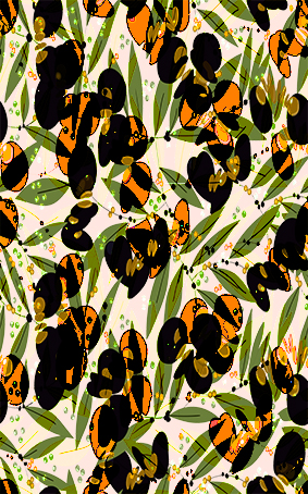 尖角树叶植物叶脉