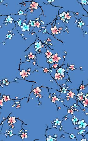 蓝底线条树叶花