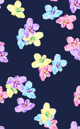 蓝底炫彩多色花卉