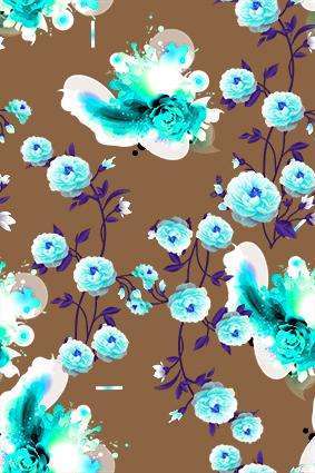褐色底蓝色火焰花