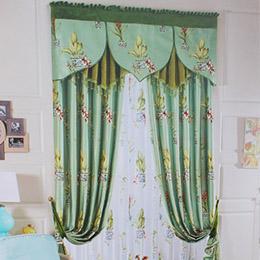 绿色植物图案卧室窗帘