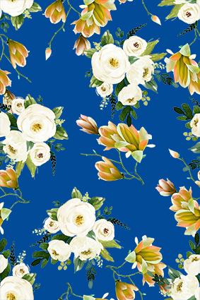 蓝底手绘元素白菊