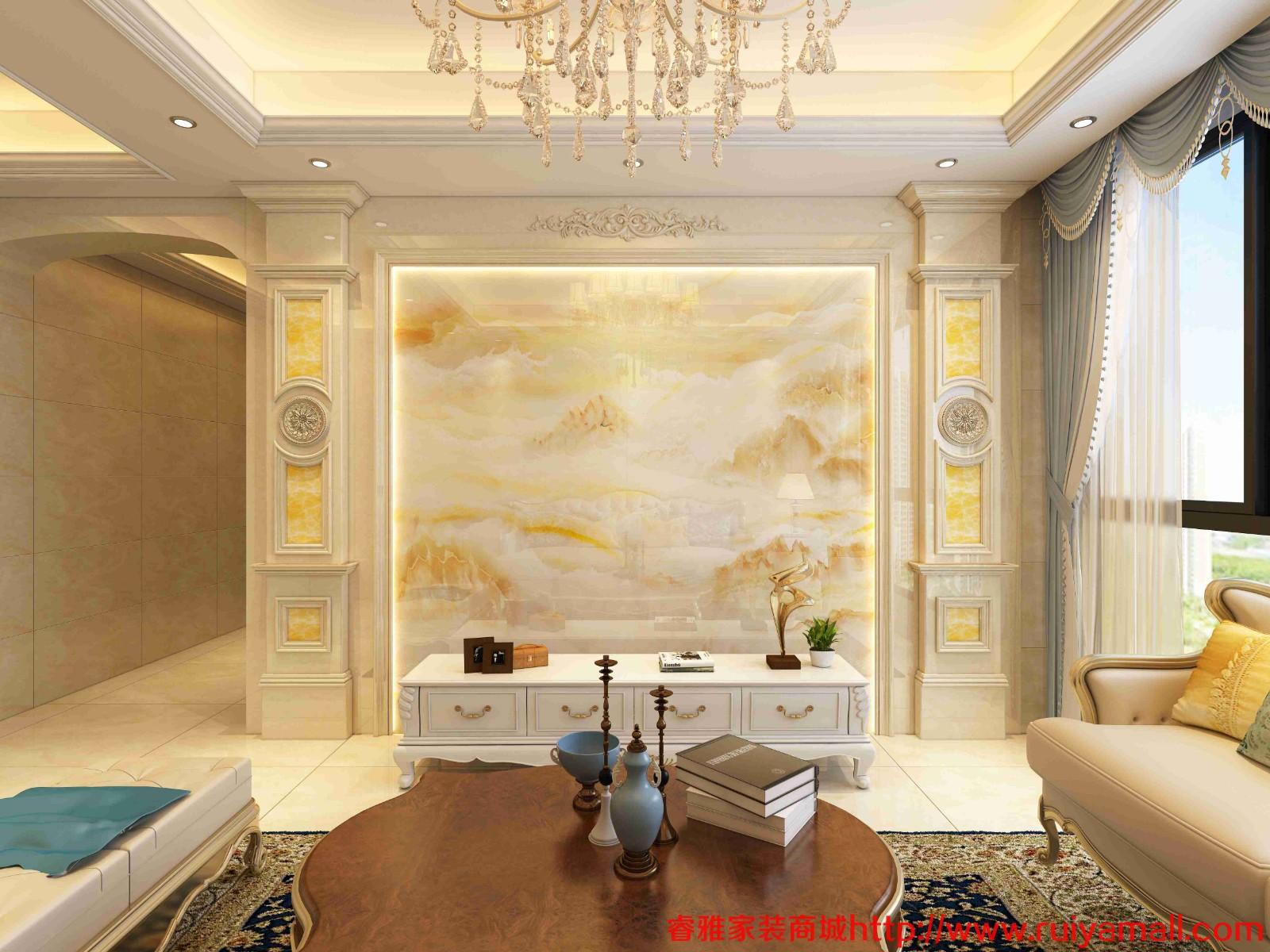 电视背景墙瓷砖现代简约客厅3D微晶石石材边框装饰造型石材护墙板-套餐7
