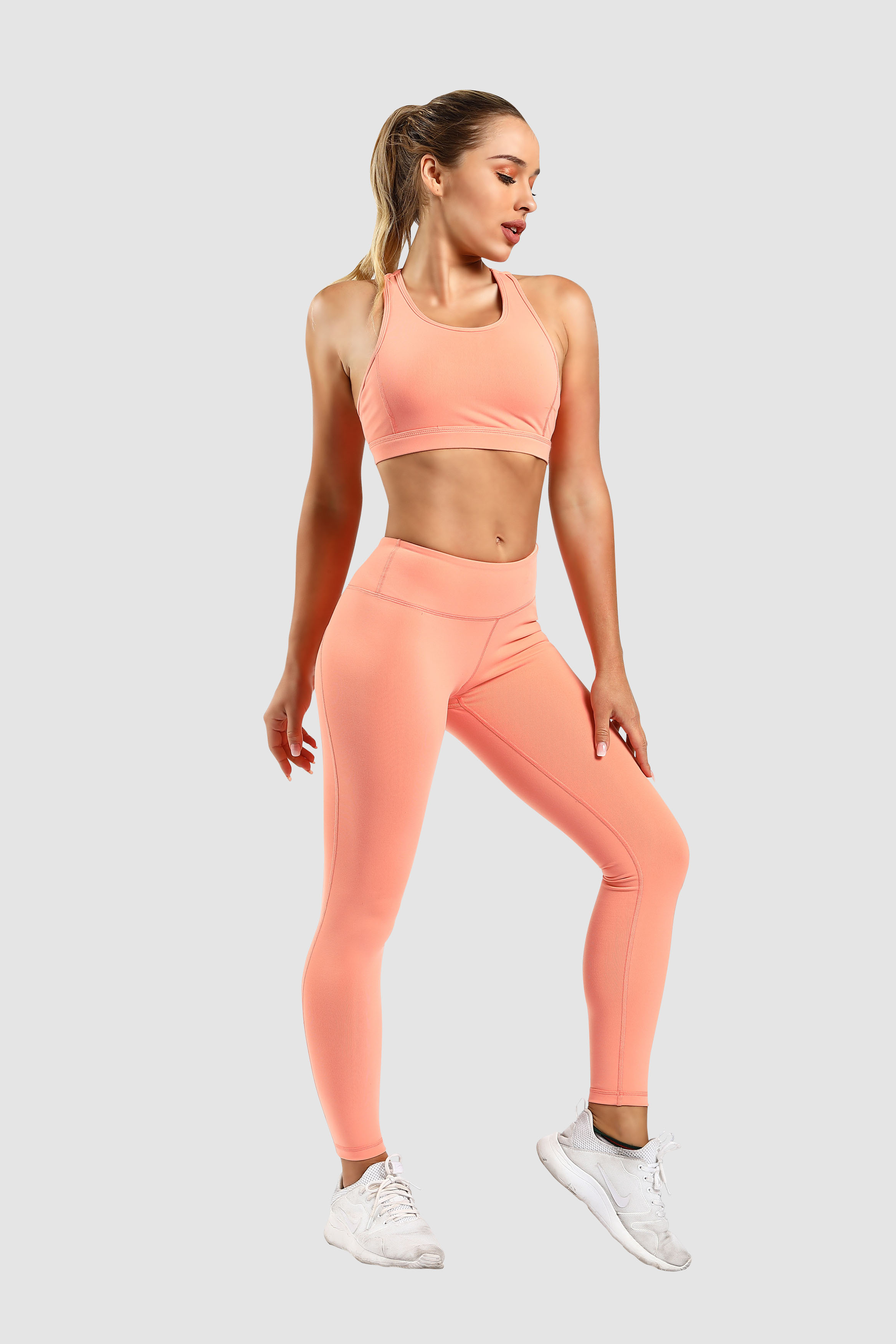 MIQI Private label women solid color running wear sexy leggings yoga fitness set