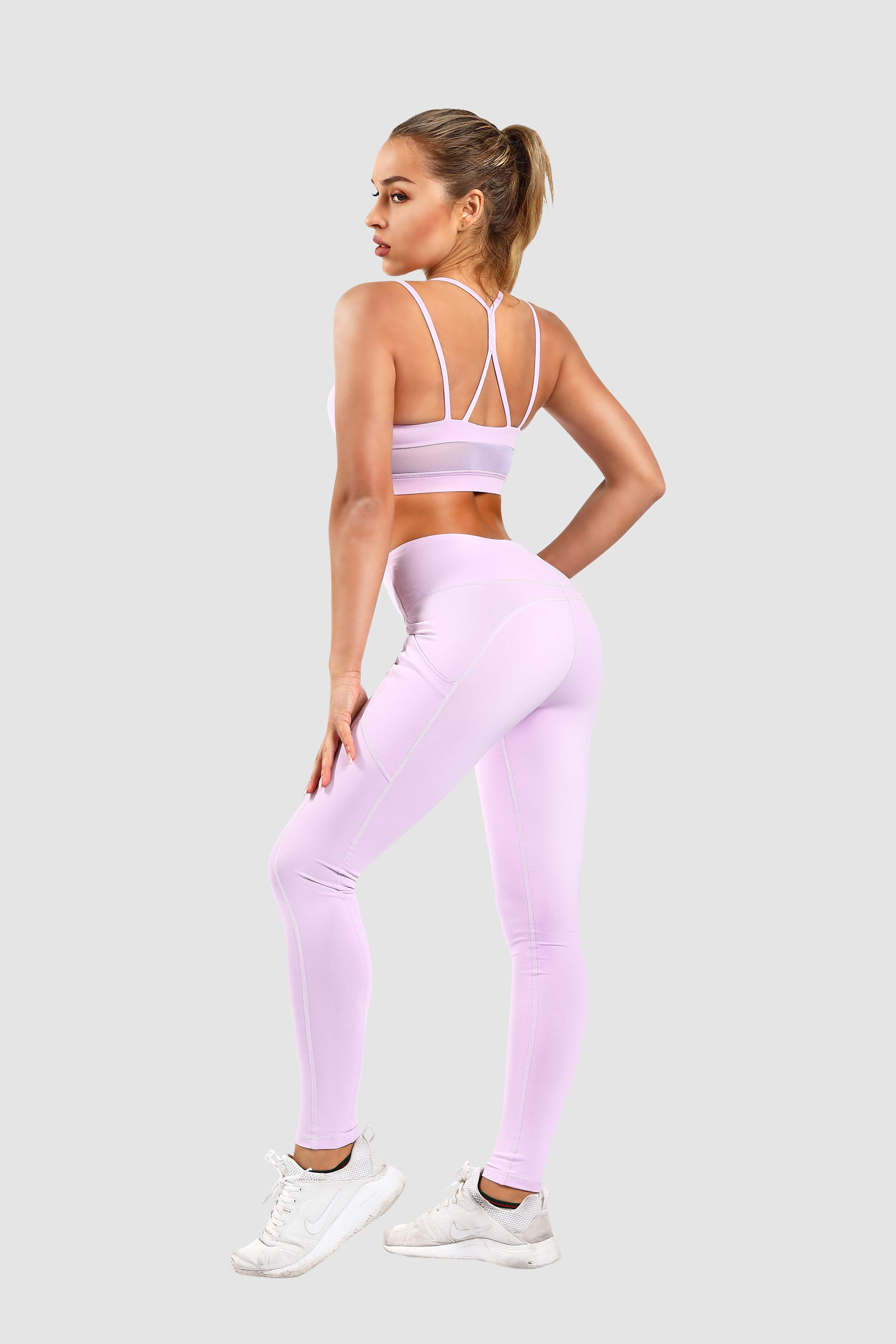 2019 Women Sexy High Waits Yoga Bra Top and Pants Leggings 2sets Wholesale Workout Gym Fitness Sport