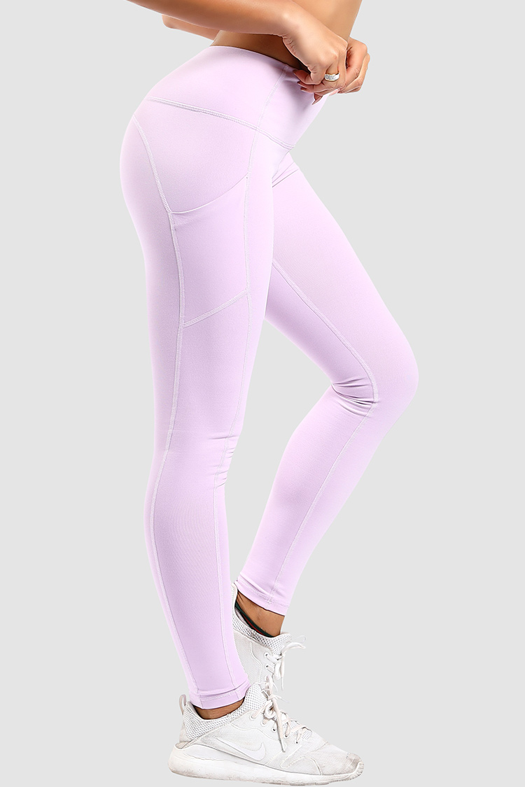 Gym Sports Leggings High Waist Plain Nylon Spandex Yoga Pants