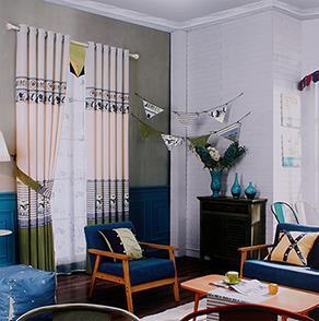 绿色英伦儿童房窗帘