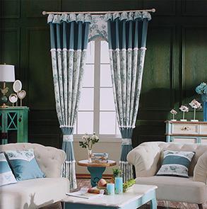 深绿色印花卧室窗帘