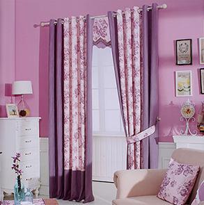 紫色印花拼接窗帘