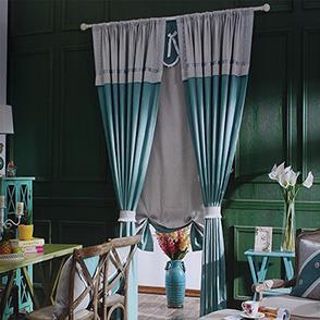 深绿色棉麻卧室窗帘