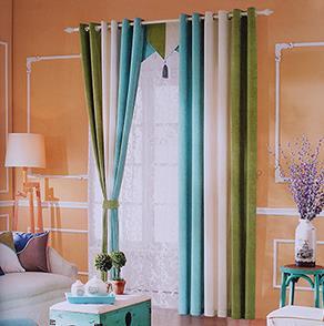 蓝白绿三色拼接窗帘