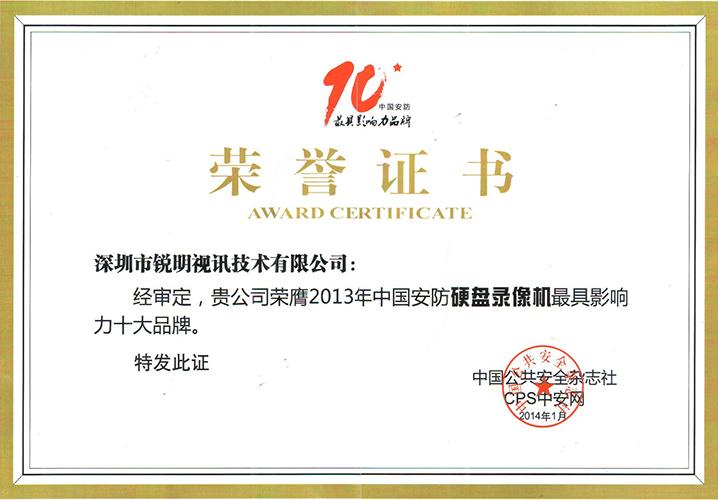 2013中国安防硬盘录像机最具影响力十大品牌