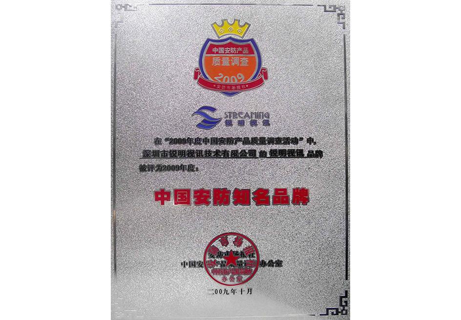 2009中国安防知名品牌