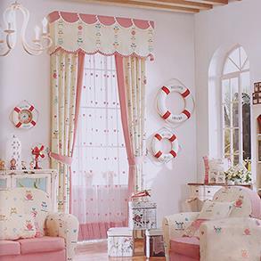 粉色猫头鹰儿童房窗帘