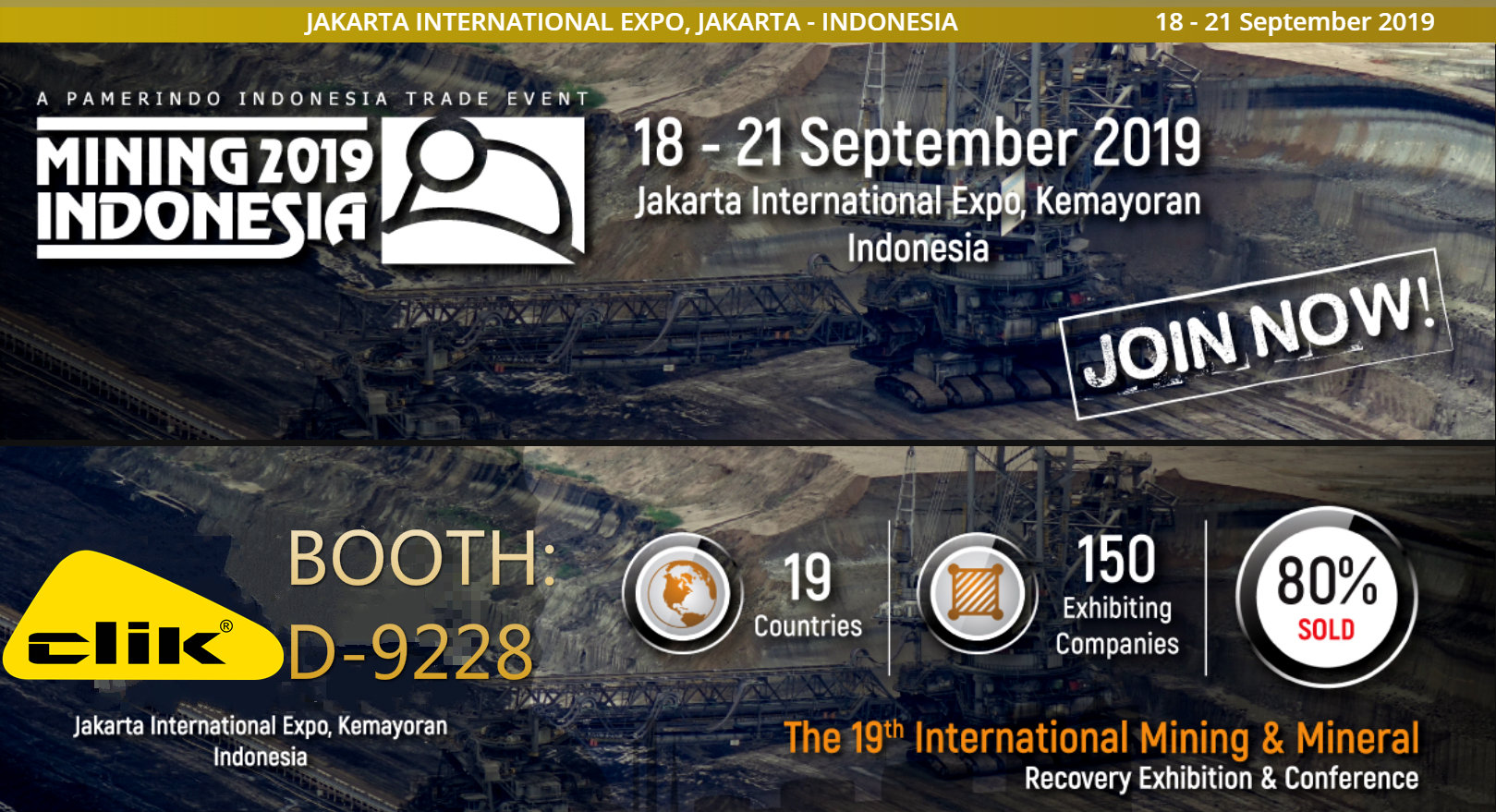 Mining Indonesia 2019 to start. Meet CLIK at Booth: D-9228