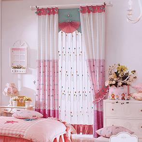 粉色小汽车拼接儿童房窗帘