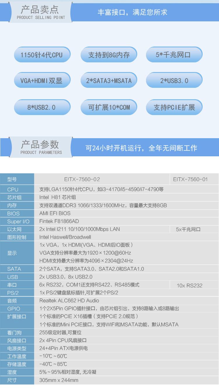 EITX-7560 视觉控制专用主板