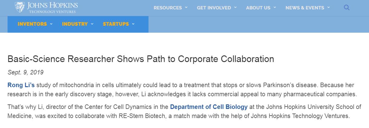 祝贺瑞思坦生物与约翰霍普金斯大学建立科研合作
