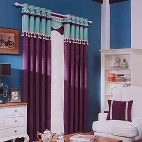 蓝紫两色拼接窗帘