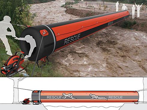 韩国设计师提出概念化的充气救生桥
