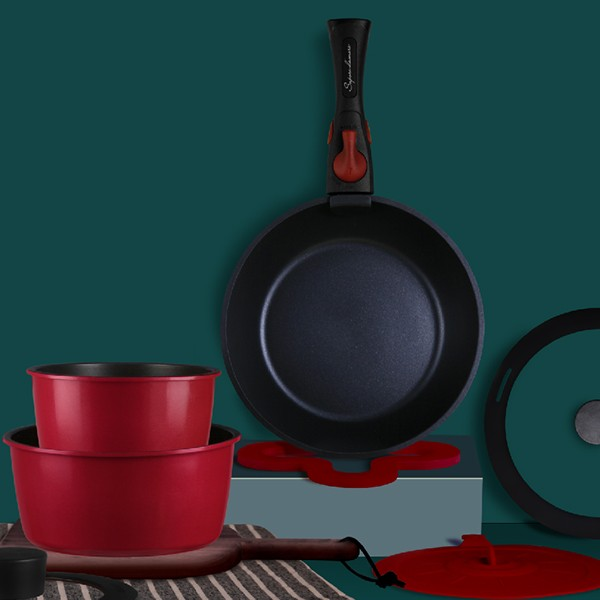 里莫系列不粘涂层铸铝锅具组9件套
