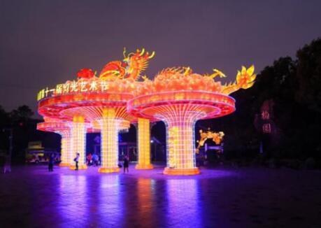 """梅园灯光艺术节-3D全息投影""""复活""""园林景观"""