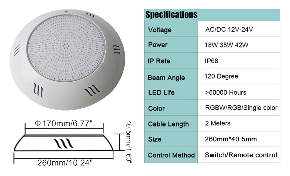 HOTOOK New Patent 18W RGB Resin Filled Wall- Mounted LED Pool Light