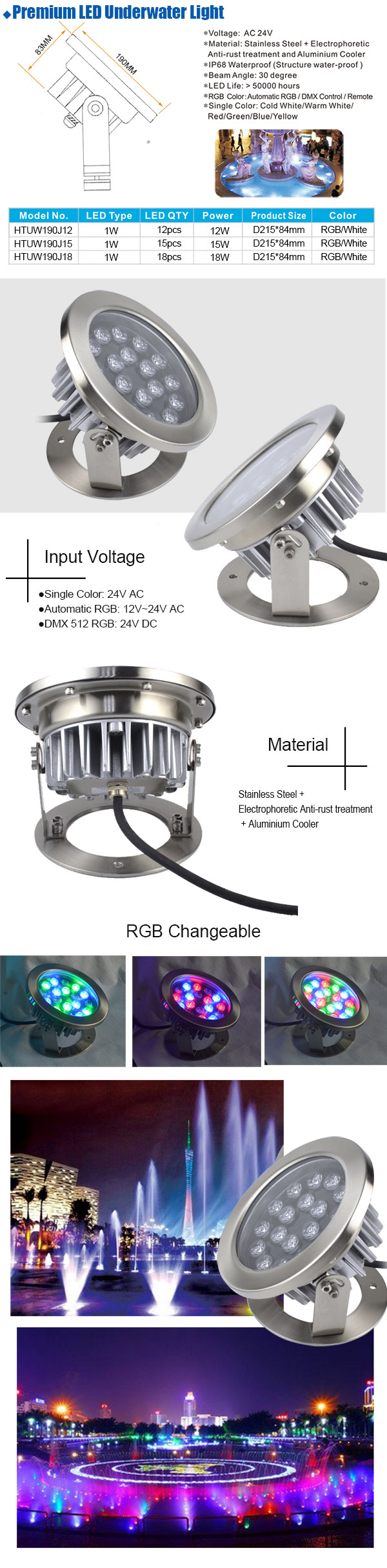 Premium 15W Stainless Steel High Power RGB led underwater light