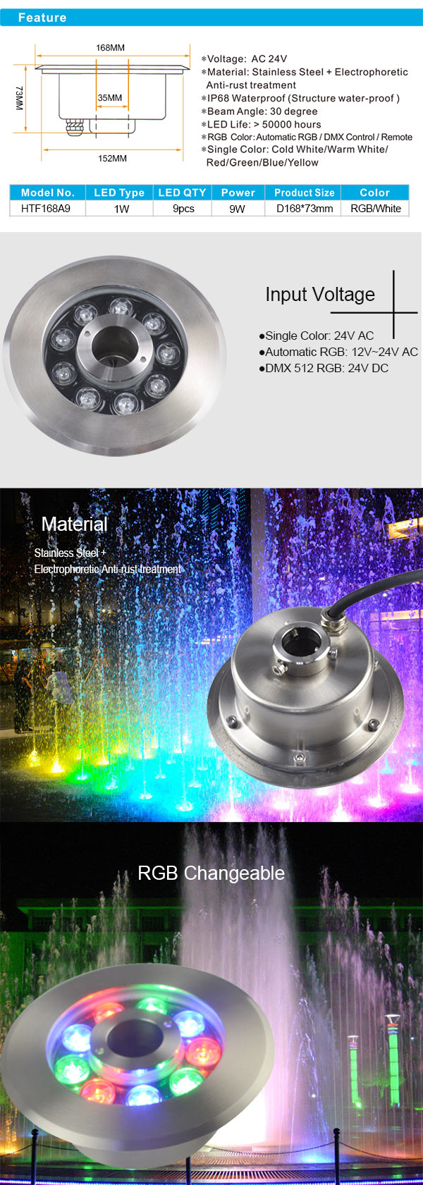 9W Stainless Steel High Power RGB led Fountain light IP68