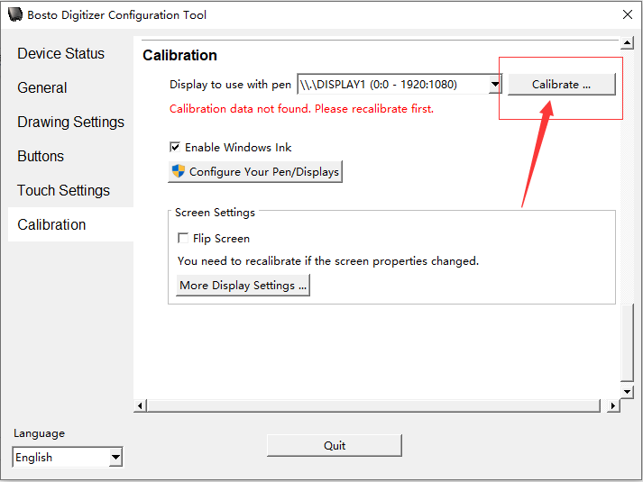 Open the driver and find calibration function