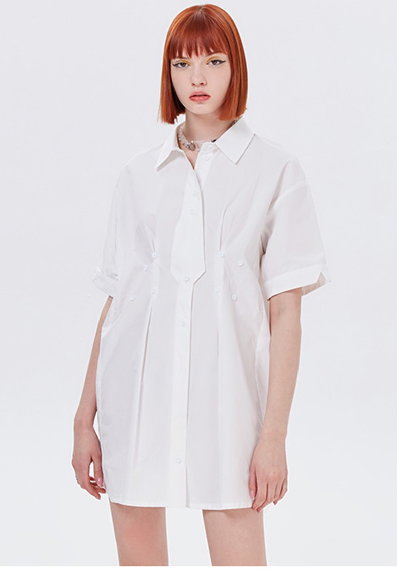 Ruched Buttons Short Sleeve Shirt Women Casual Blouse Spring Loose For 2021 Soft Simple Tie