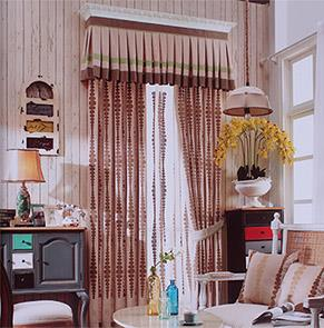 欧式咖色绣花卧室窗帘