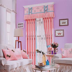 韩式田园粉色绣花窗帘