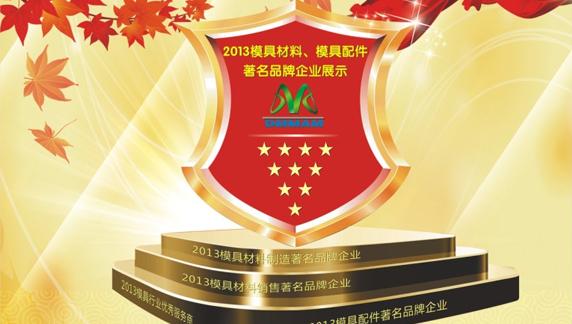 公司荣获2013今晚福彩3D开奖结果配件行业著名品牌企业荣誉称号