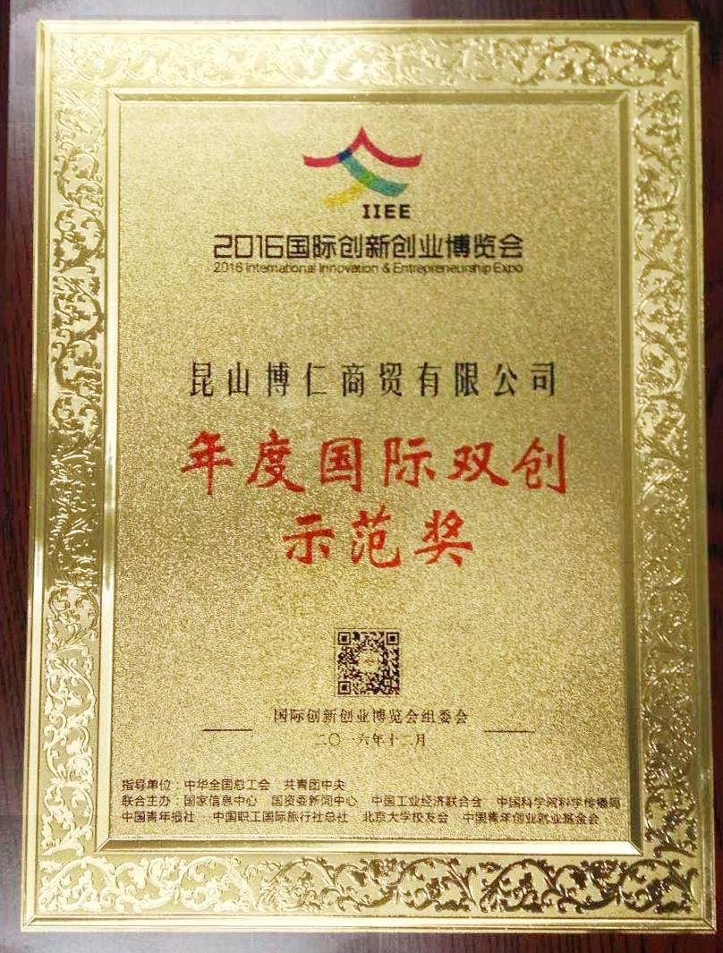 荣获2016年度国际双创示范奖