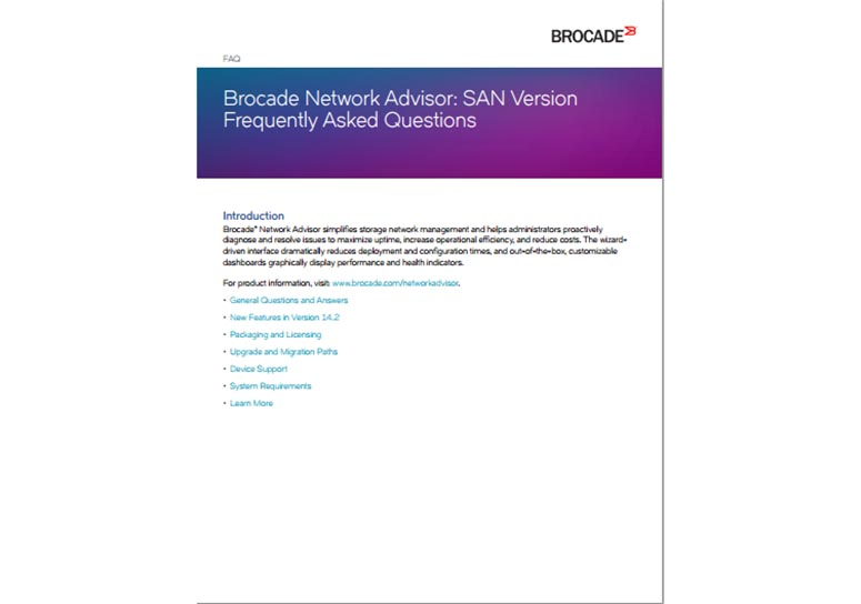 Brocade Network Advisor: SAN Version Frequently Asked Questions