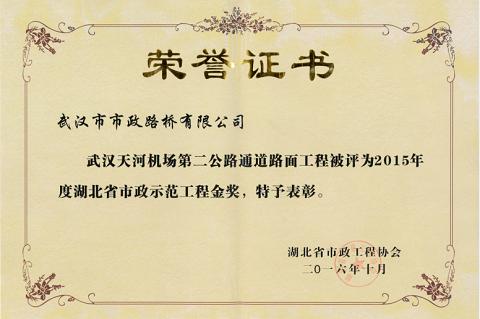 2015年度湖北省市政示范工程金奖