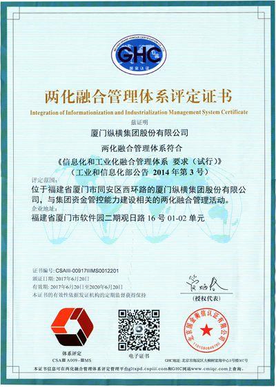 亚洲城游戏官方网站获两化融合管理系统评定证书