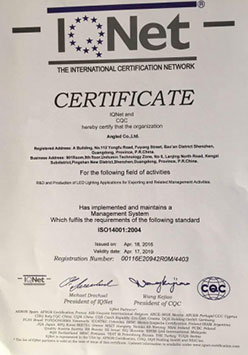 ISO14000 IQNET certificate
