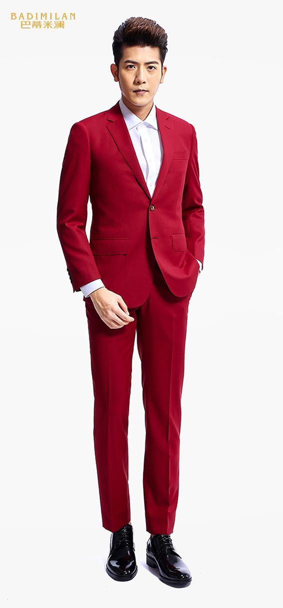 BADIMILAN万博manbetx苹果APP两粒扣红色修身西装定制款