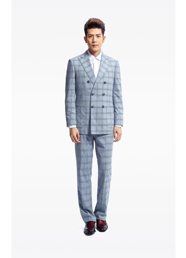 BADIMILAN蓝色格子定制款男士修身双排扣西装