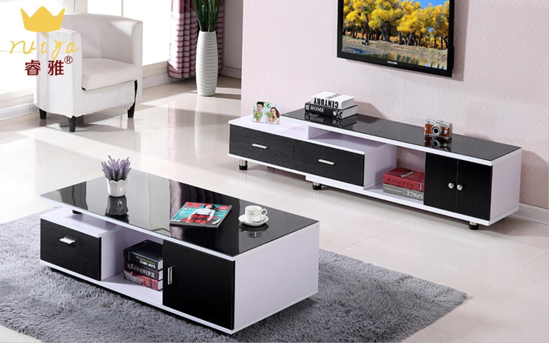 现代简约客厅用配钢化玻璃可伸缩小户型地柜式茶几电视柜 茶几