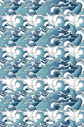 素描蓝色渐变海浪