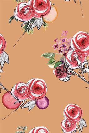 素描线条原创花型