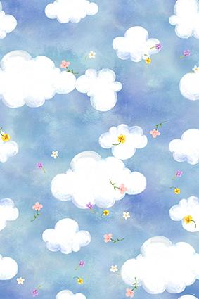 卡通手绘蓝天白云