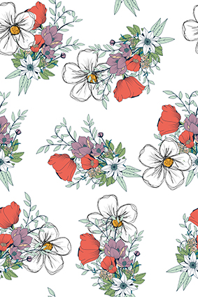 素描矢量线条花