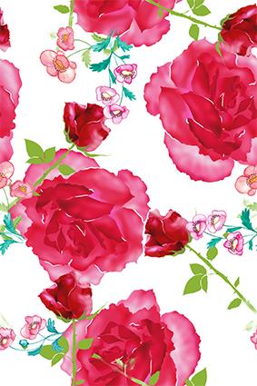 喷绘水彩效果红花