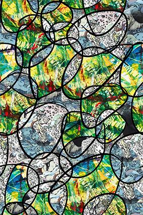 圆窗乱线密集炫彩图案