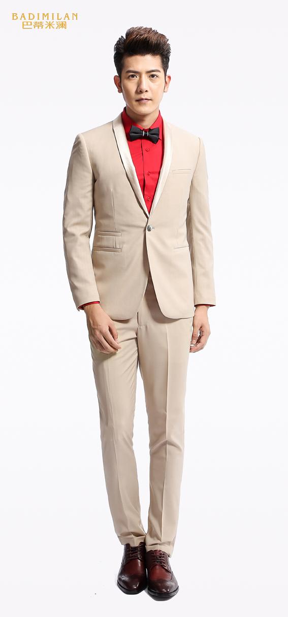 BADIMILAN万博manbetx苹果APP纯色修身商务高定男西装